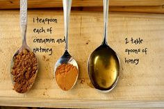 DIY: Honey & Spice Face Mask | 1 tsp Cinnamon | 1 tsp Nutmeg | 2 tbsp Honey | 15 mins  I don't use nutmeg but its probably good .  LOVE it.  Seems to really help my oily skin.