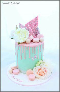 Pastel drip cake with rainbow choc shard, macarons, silk flowers and n lettering by Amanda's Cake Art Mais Pretty Cakes, Cute Cakes, Beautiful Cakes, Amazing Cakes, Macaron Cake, Cupcake Cakes, Torta Candy, Drippy Cakes, Bolo Cake