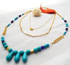 Multi Strand Turquoise Statement Necklace by LuxiereFashion on Etsy