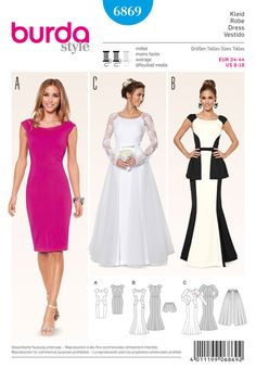 distinctive gowns, striking seam lines. exclusive variant a with rounded waist inserts. b: contrasting colors, short, separate peplum. wedding gown c with narrow lace sleeves and separate bulky tulle overskirt