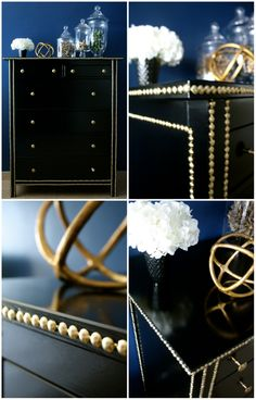 Black dresser with gold accents