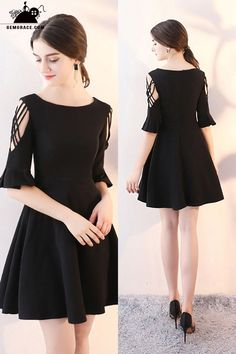 Only $78, Homecoming Dresses Short Black Flare Aline Homecoming Dress with Sleeves #HTX86031 at GemGrace. View more special Special Occasion Dresses,Homecoming Dresses,Fashion Dresses,Short Homecoming Dresses,Black Homecoming Dresses,Long Sleeve Homecoming Dresses,Modest Homecoming Dresses now? #GemGrace To buy delicate gowns at affordable prices. Over 399 new styles added, shop now to get $5 off! All free shipping! Trendy Dresses, Nice Dresses, Short Dresses, Dresses With Sleeves, Formal Dresses, Dress Long, Short Sleeves, New Dress, Mode Outfits