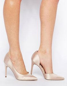 Proposition pointed high heels by Asos. Heels by ASOS Collection, Satin-effect upper, Cut-away side detail, Pointed toe, High heel.