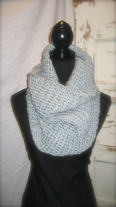 Grey Goose Crocheted Infinity Scarf by StitchofStyle on Etsy, $22.00