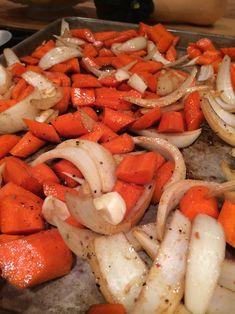 Easy Roasted Carrots — Between Parents Sauteed Carrots, Sauteed Vegetables, Veggies, Vidalia Onion Recipes, Healthy Recipes, Carrot Recipes, Healthy Food, Vegetable Side Dishes, Vegetable Recipes