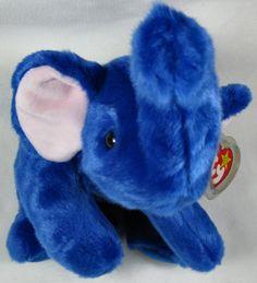 6d05071ade3 Ty Peanut Royal Blue Plush Elephant Beanie Buddies 1998 Rare