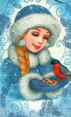 Make-Up Art Weihnachten - Gif Life Noel Christmas, Vintage Christmas Cards, Christmas Pictures, Christmas And New Year, Winter Christmas, Christmas Crafts, Illustration Noel, Illustrations, Snow Maiden