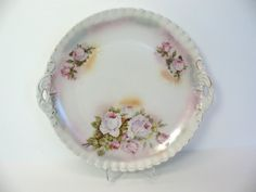 Porcelain Plate Pink Roses Bavaria Pie Crust by MicheleACaron