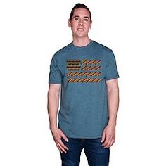 Satisfy your all-American taste with this men's burgers and hot dogs flag tee. Mens Patriotic Shirts, Hot Dogs, Graphic Tees, Celebrities, Burgers, Mens Tops, Blue, Clothes, Box Store