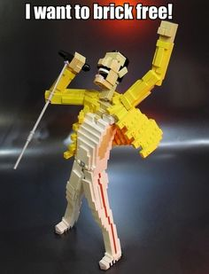 I want to brick free! #Lego Freddie Mercury #Queen #funny #music #humor