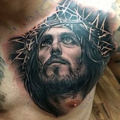 Cool Chest Tattoos, Chest Tattoos For Women, Chest Piece Tattoos, Tattoos 3d, Hand Tattoos, Cool Tattoos, Jesus Chest Tattoo, Jesus Tattoo Sleeve, Christus Tattoo