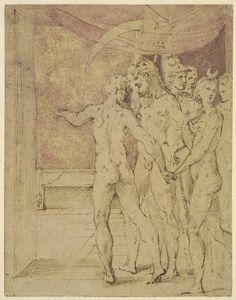 Parmigianino (Girolamo Francesco Maria Mazzola), 1503-1540, Italian, Vulcan showing Mars & Venus to the other Olympian Gods, c.1518-40.  Drawing.  British Museum, London.  Mannerism.