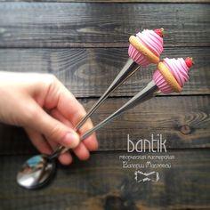 Длинные ложечки розовый капкейк с малиной