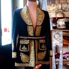 This black jacket with gold and coral embroidery is Devine and has exquisite coral satin lining.  It's a vintage jacket that as handmade and not too unlike a cape I have from the 1800's !!!! I wonder if #Chanel took their influence from the #vintage garme