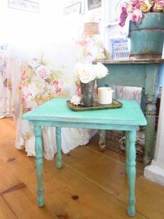 Shabby chic chippy minty green aqua Vintage farmhouse table side table shabby chic prairie. $99.00, via Etsy.