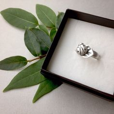 The Luck of the Ladybug! Pure silver ladybug on a leaf, soldered on a sterling silver band. Size 6- Only 1 available- ( $50)  #silverjewelry #silverrings #insectjewelry