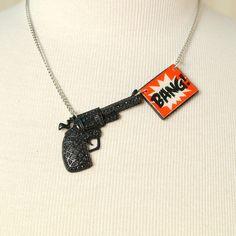 """""""Kiss Kiss Bang Bang! this is the original old skool gag gun necklace by Charcoal Designs."""""""