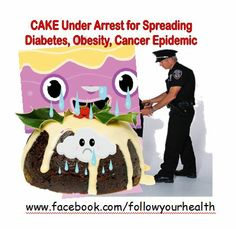 """The Cake is under arrest because it is a disease bomb baked with Bad Sugar. Fire the bad sugar from your kitchen and welcome the Good Sugar.  Discover the good sugar in """"Good News for Sugar Lovers, Good Sugar Unveiled, Bad Sugar Unmasked"""".  EZ download on Kindle, iTunes, or log into www.facebook.com/followyourhealth and open the SHOP tab.  Be a Happy Eater. Bad Sugar, Itunes, Kindle, Lovers, Fire, Snacks, Facebook, Baking, News"""