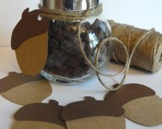 Set of 12 Card Stock Acorns- Woodland Party, Fall Decoration, Baby Shower