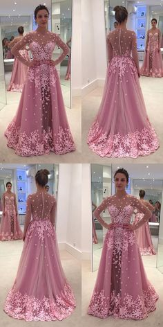 long prom dresses - Aline Bateau Long Sleeves Illusion Back Rose Pink Long Prom Dress with Appliques Blue Mermaid Prom Dress, Prom Dresses Long Pink, Gala Dresses, Tulle Prom Dress, Bridesmaid Dresses, Formal Dresses, Wedding Dresses, Bride Dresses, Party Dresses