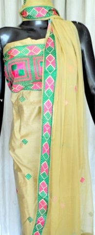 Stand out in the next party you attend wearing this amazingly graceful tussar silk phulkari suit piece, with chiffon dupatta. - See more at: http://giftpiper.com/SilkBeigePhulkariSuitPiece-MagentaGreenPattern-id-542180.html#sthash.acf4KugO.dpuf