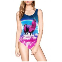 Funny Colorful Animal Print Scoop One Piece Swimsuit (24 CAD) ❤ liked on…