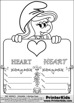 Coloring page with Smurfette (la schtroumpfette) holding an educational board with a heart on it. The board has cute flower ornaments that split the board into a display area with the symbol and two areas with lines that can be written on. The lines has a pencil symbol to their left. The idea behind this educational kids activity page was to encourage kids to practice writing. The board has the word HEART written with two different fonts.