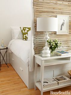 Kind of made a nook there--cool. The Smallest Rooms Ever with Ikea bed with storage below.