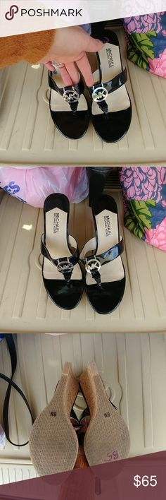 Michael Kors wedge sandal flip flops Final say all these have a little damage spot that easily a shoe repair could sew in two seconds as is these are brand new they were warm one-time inside for a fashion show MICHAEL Michael Kors Shoes Wedges