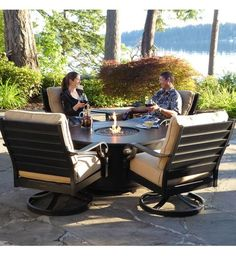 Whether your outdoor retreat is located in the mountains, on the coast, or somewhere in between, the Verena fire table set by SunVilla will extend your evenings with friends and family round the fire. Sit back, and relax in the plush cushioned rocking chairs and with the warmth and ambiance of a fire pit.