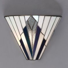 Tiffany Art Deco Wall Light with White, Blue, Purple and Clear Glass.