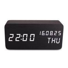 Wooden LED Digital Alarm Clock, Displays Time Date Week And Temperatur