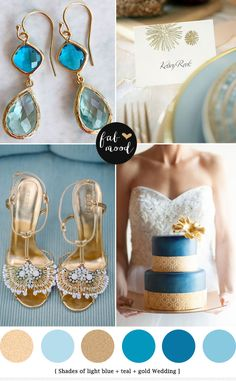Glamour blue and gold wedding palette - see more http://www.fabmood.com/light-blue-gold-wedding-colors/ blue gold wedding,blue gold wedding ...