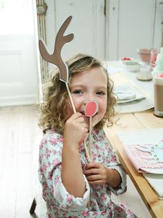 Kids' Crafts! Keep them busy during the party with these fun, crafty ideas. Download and print the FREE rudolf costume craft! #hgtvholidays   http://www.hgtv.com/handmade/host-a-crafty-kids-holiday-party/pictures/page-3.html?soc=hpp