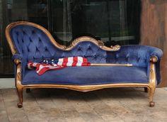 Blue Velvet Victorian Sofa.