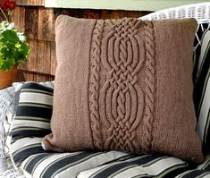 Hand Knit Braided Cable Pillow Cover is a fantastic way to cover an old pillow and add texture in any color you choose. Custom work by Gail Ainley!