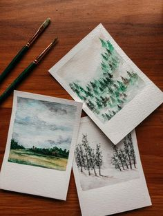 Excited to share this item from my shop: Watercolor polaroid landscape paintings Watercolor Paintings For Beginners, Watercolor Landscape Paintings, Watercolor Artists, Watercolor Portraits, Watercolour Painting, Painting & Drawing, Abstract Paintings, Painting Lessons, Abstract Oil