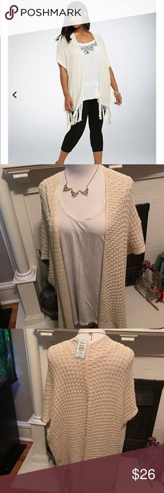 Torrid knit open front kimono Torrid knit open front kimono with lace fringe. Color is ivory. Size 2. Brand new with tags torrid Sweaters Shrugs & Ponchos