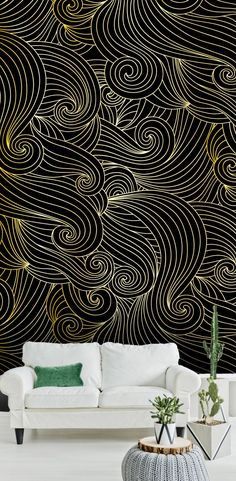 Black and gold abstract waves metallic wallpaper pattern.