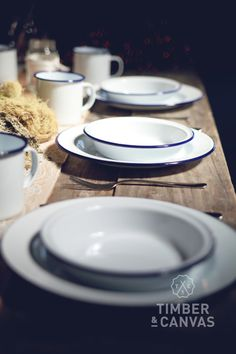 A vintage industrial table setting from Falcon Enamelware in original blue + white. Striking and clean, at the same time as being comfortingly familiar.