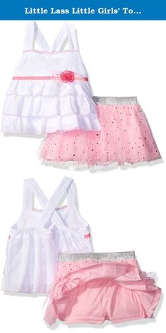 Little Lass Little Girls' Toddler 2 Piece Scooter Set Glitter Tulle, White/Pink, 3T. Little Lass offers cute and comfortable styles with quality construction. She is adorable in this 2 piece set including an embroidered knit tank top adorned with tiered ruffles, a ribbon belt and bow, paired with a glittered scooter with disco dots and a elastic lurex waistband.