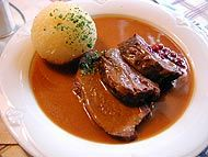 Sauerbraten - a favorite German recipe for roast beef. The crushed gingersnaps in the gravy make this magnificent!