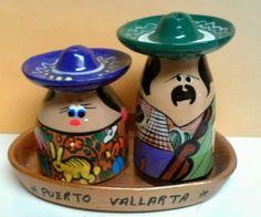 :D ❤️PUERTO VALLARTA SALT & PEPPER SHAKERS MADE IN MEXICO