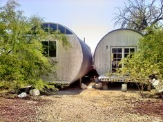 large corrugated metal pipes converted into small dwellings in ajo, phoenix. photos by brian mcclure.