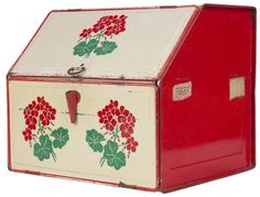 Red and White Floral Bread Box