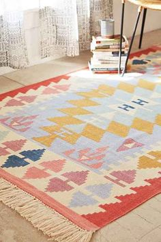 These colors make me happy. Assembly Home Isolde Kilim Printed Rug - Urban Outfitters #UOonCampus #UOContest