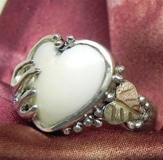 Heart Shape Carved Elk Ivory Ring - Jewelry Making Daily