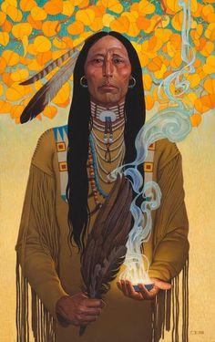 Thomas Blackshear - Sacred Smoke Oil on board kp Native American Paintings, Indian Paintings, Art Paintings, Native American Artists, Abstract Paintings, Western Comics, Western Art, Illustrations, Illustration Art