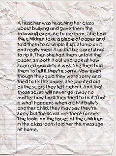 Crumpled paper bullying lesson. How we get our students to understand the lifelong affects that bullying has on a person