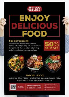 Enjoy Delicious Food Poster Template PSD Salami Pizza, Crispy Beef, Food Poster Design, Logo Food, Special Recipes, Poster Templates, Lorem Ipsum, Delicious Food, Breakfast